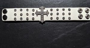 Other - Designer White Leather Cross Rhinestone Bracelet